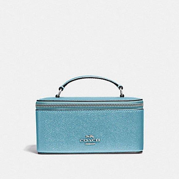 Coach Handbags - Coach Metallic Blue Vanity Cosmetic or Travel Case